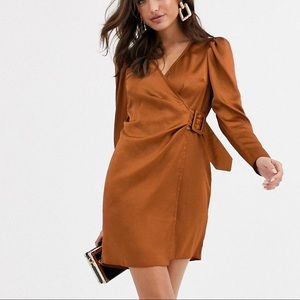 ASOS Rust Satin Wrap Mini Dress with Buckle
